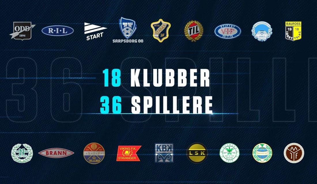 Her er de 18 klubbens som skal spille i eSerien